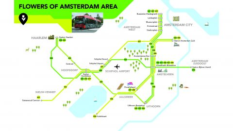 Flowers of Amsterdam Area Dayticket -1 Day Public Transport Ticket to FloriWorld Aalsmeer from A'dam